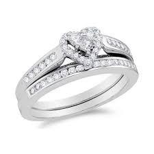 heart shaped wedding rings 1 carat heart shape halo design wedding ring set jewelocean