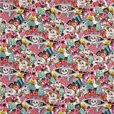 white henry fabric small colorful flower happy