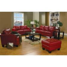 Samuel Red Leather Living Room Set  From Coaster - Red leather living room set
