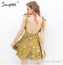 backless padded print summer dress women summer v neck beach