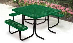 Commercial Picnic Tables by Ada 1 Chair Supersaver Commercial Square Picnic Table