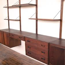 studio twenty two mid century danish modern walnut wall unit