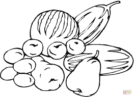 fruits and vegetables coloring page free printable coloring pages