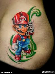 colorful mario cartoon tattoo design by chris 51