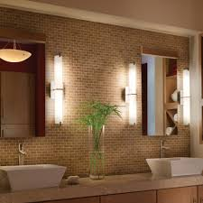 bathroom elegant bathroom lighting and mini brick wall pattern