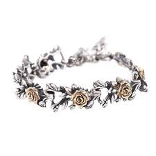 silver roses 14k gold and sterling silver roses bracelet sofia jewelry