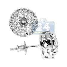 womens stud earrings diamond illusion halo stud earrings 14k white gold 1 41 ct
