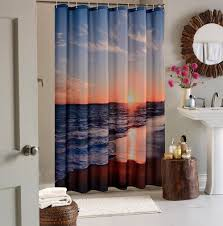 Winter Scene Shower Curtain by Amazon Com Goodbath Beach Shower Curtain Ocean Waves Sunset