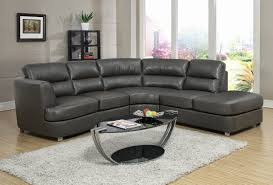 Modern Brown Leather Sofa Living Room Grey Leather Sectional With Large Glass Windows And