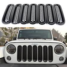 jeep wrangler front grill 7x matte black front grill mesh grille insert cover for jeep