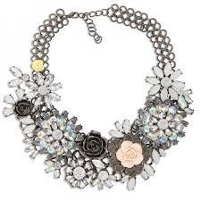metal flower necklace images Aurora borealis hydrangea flower stone encrusted gunmetal jpg