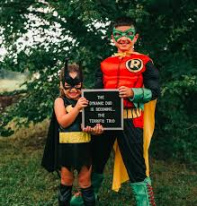 batman and robin halloween costumes for couples sibling batman and robin pregnancy announcement popsugar moms