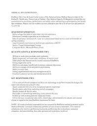 Sample Resume With One Job Experience by Medical Esthetician Resume Sample Http Www Jobresume Website