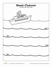cutting practice boat worksheet education com