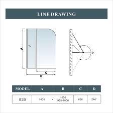 aica pivot hinge folding screen over bath shower door panel 1400mm