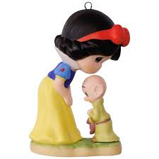 precious moments disney snow white and dopey porcelain ornament