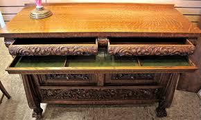 rj horner carved oak buffet server table c 1890 riam