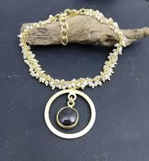 black onyx charm bracelet images White pearl bead bracelet with round black onyx and charms jpg
