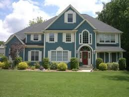 nice clean exterior house paint with turquoise accent exterior
