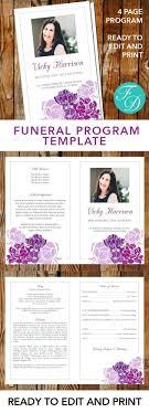 printable funeral program templates template memorial handout template purple flowers printable