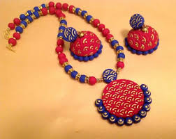 terracotta jewelry set in bright and blue handcrafted jewelry