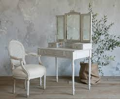 Unique Vanity Table Simple Wooden Makeup Vanity Table With Single Three Fold Mirrored