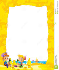 cartoon frame with children on the beach playing in sand sailboats