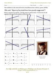 graphing lines in slope intercept form worksheet doc templates