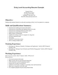 resume sle with career summary entry level accounting job description ninja turtletechrepairs co