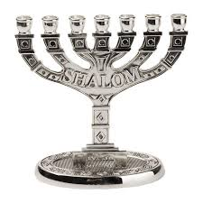 menorah 7 candles branch shalom menorah with antique silver finish