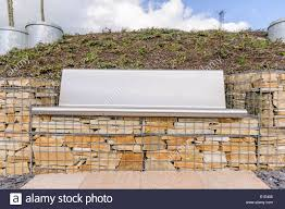 Bench Built Into Wall Steel Bench Built Into Gabion Cages Filled With Stone Stock Photo