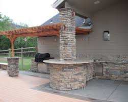 Outdoor Kitchen Creations Orlando by Outdoor Kitchen Using Cultured Ledge Stone And Granite Counter