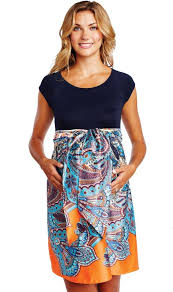 maternal america maternal america navy paisley front tie maternity dress