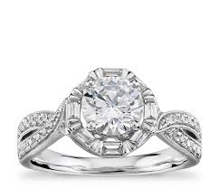 twisted halo engagement ring truly zac posen baguette twist halo engagement ring in 14k