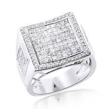 square diamonds rings images Square 14k gold mens princess cut diamond ring 2 65ct jpg