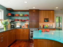 mid century modern kitchen remodel ideas interior awesome light blue wall with floating wall shelves and