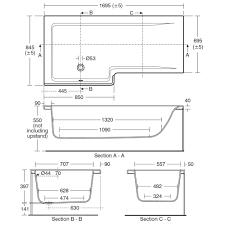 concept idealform plus square 1700mm left handed shower bath technical drawing 33147 e049201