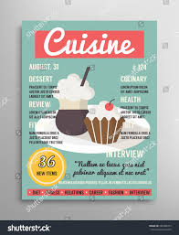 magasine cuisine magazine brochure cover template food blogging เวกเตอร สต อก