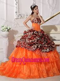 Pretty Orange Orange Ball Gown Sweetheart Quinceanera Dress With Appliques