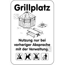 ab spr che hinweisschild wald freizeitanlagen grillplatz nutzung nur