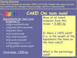 percentage yield for brownie recipe chemistry by s holmes12