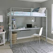 How To Build A Loft Bed With Desk Underneath by Dhp X Twin Metal Loft Bed Over Desk Workstation Black Walmart Com