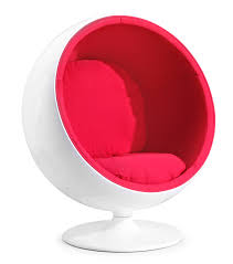 chic red fabric seat with white egg chairs pattern with pedestal