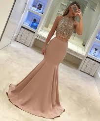 two piece prom dress 2017 prom dress mermaid long prom dress