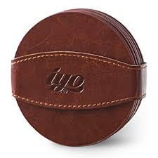 amazon com leather drink coasters set with strap 6 pack