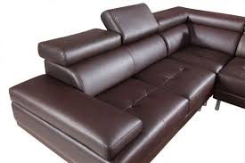 9054 Modern Brown Leather Sectional Sofa
