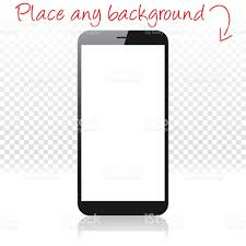 smartphone on white floor and blank background mobile phone