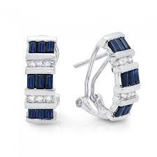 14k white gold earrings sapphire and diamond 14k white gold earrings