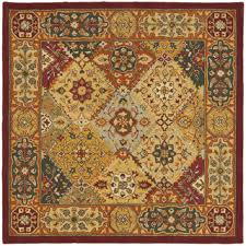 Square Wool Rug Safavieh Handmade Heritage Traditional Bakhtiari Multi Red Wool