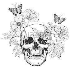 skull flowers and butterfly coloring books vintage